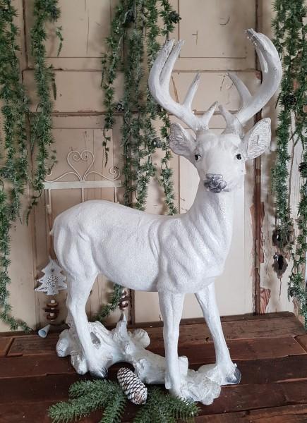Hirsch Rentier Weiß Silber Weihnachten Shabby Vntage Landhaus Deko XXL