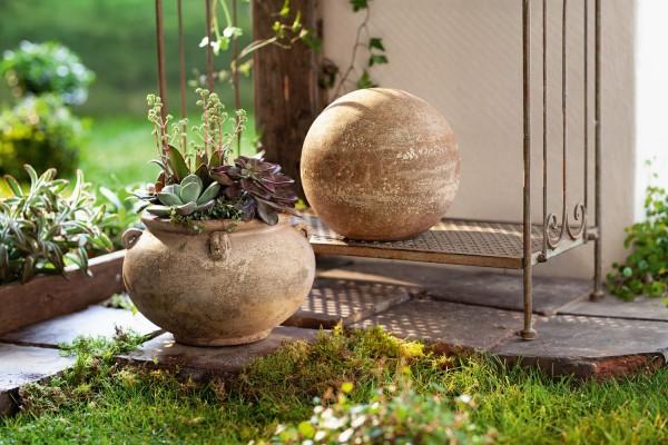 Pflanztopf Vase 'Terracotta Brauntöne Garten Deko Landhaus Vintage