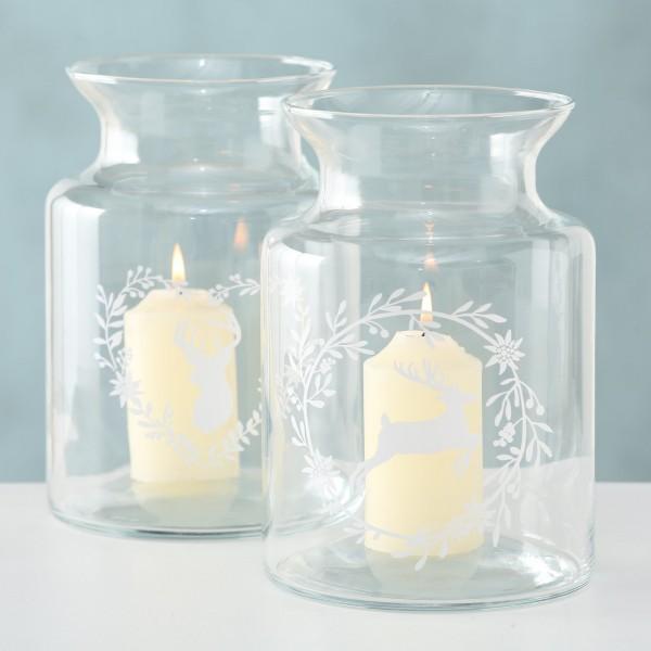 2er Set Windlicht Kerzenständer Vase Glas Shabby Vintage Landhaus Weihnachten