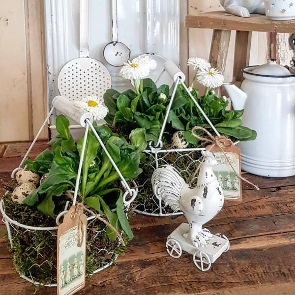 2er Set Körbe Metall Frühling Garten Shabby Vintage Landhaus Weiß