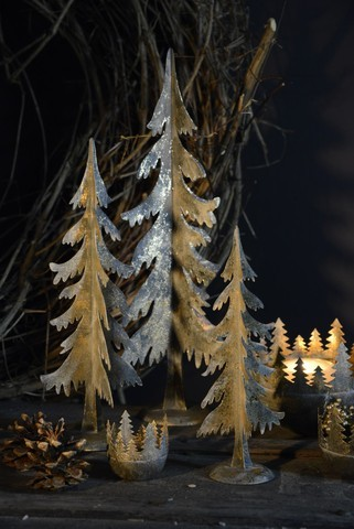 3er Set Weihnachtsbäume Metall Gold Weihnachten Vintage Landhaus Deko