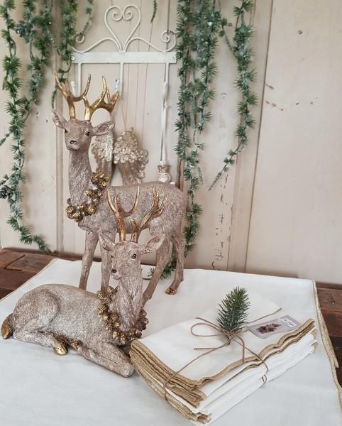 4er Set Stoffservietten Weiß Shabby Vintage Landhaus Weihnachten Goldrand