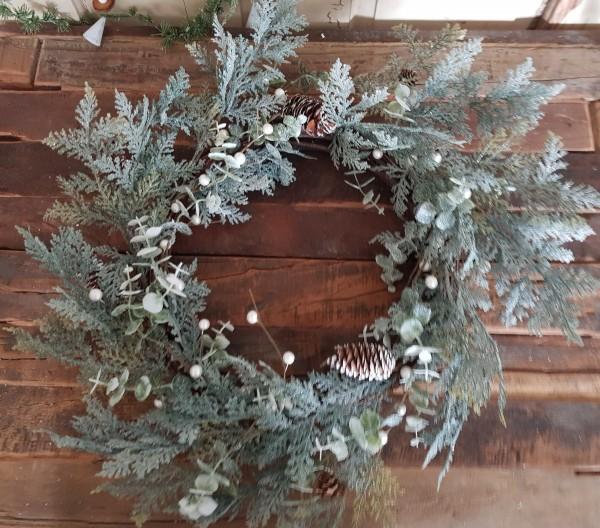 Adventskranz Tanne Zapfen beschneit Weihnachten Vintage Landhaus Deko