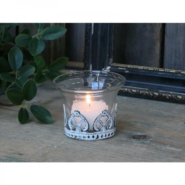 Chic Antique Teelichtglas Metall Antikweiß Garten Landhaus Shabby Vintage Deko