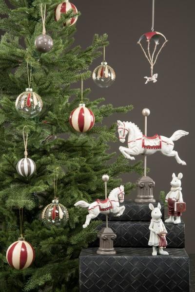 Zirkuspferd Weiß- Rot Shabby Vintage Weihnachten Landhaus Nostalgie Deko Klein