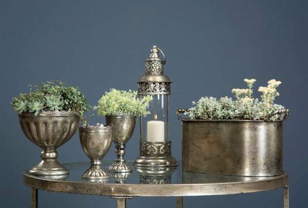 Pokal Schale Pflanzgefäß Metall Silber Weihnachten Shabby Vintage Landhaus
