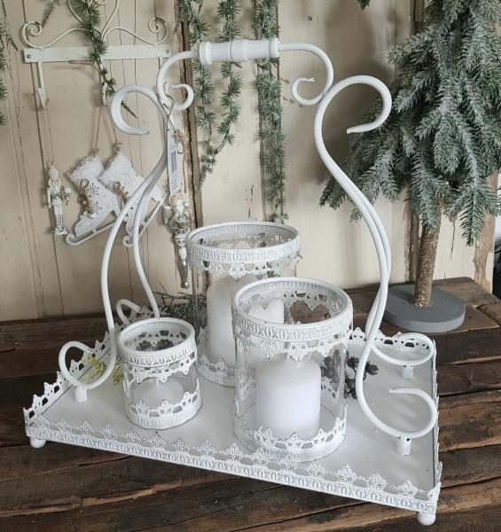 Tablett Windlicht Metall Weiß Weihnachten Shabby Vintage Landhaus Deko