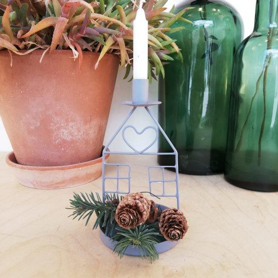 Kerzenhalter Haus Metall Weihnachten Shabby Vintage Landhaus Grau Klein