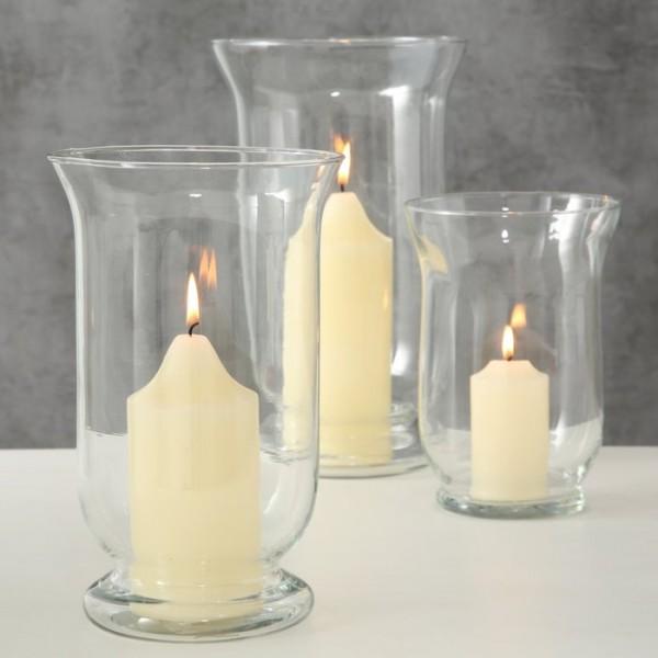 3er Set Laterne Windlicht Kerzenständer Glas Shabby Vintage Landhaus Weihnachten