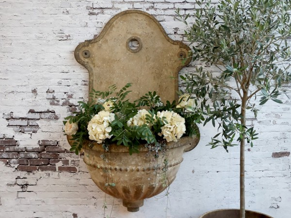 Wandbrunnen Pflanzkasten Metall Creme Garten Shabby Vintage Landhaus Deko XXL