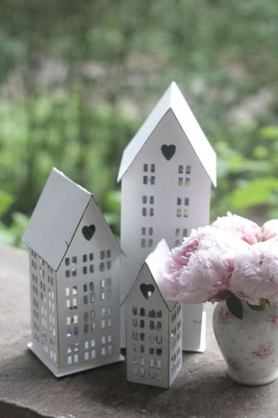 3er Set Laterne Lichthaus Metall Kerzenhaus Shabbby Vintage Landhaus Garten Weiß