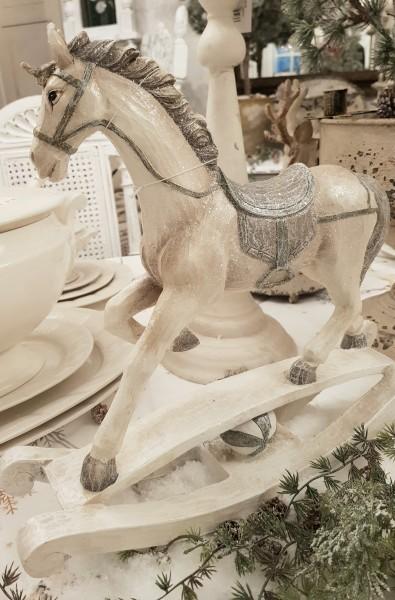 Schaukelpferd Weihnachten Creme Antik Shabby Vntage Landhaus Deko
