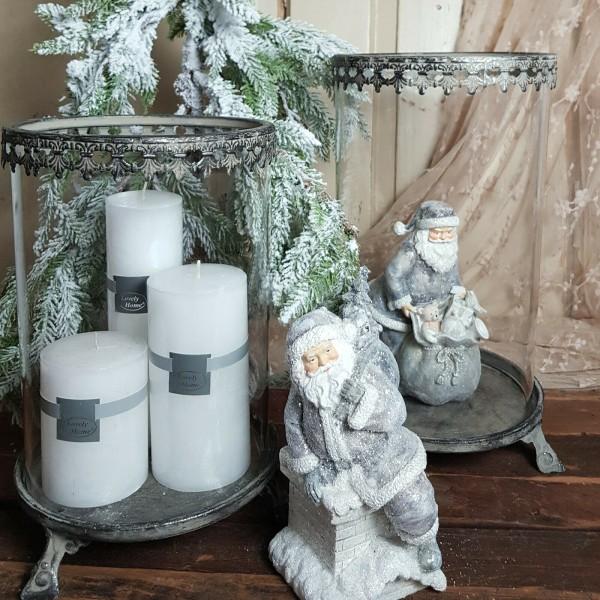 Windlicht Laterne Kerzenleuchter XXL Antik Silber Weihnachten Shabby Vintage Landhaus Deko Groß