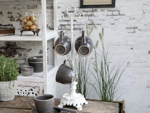 Chic Antique Tassenständer Geschirrständer Metall Küche Shabby Vintage Landhaus Nostalgie Weiß