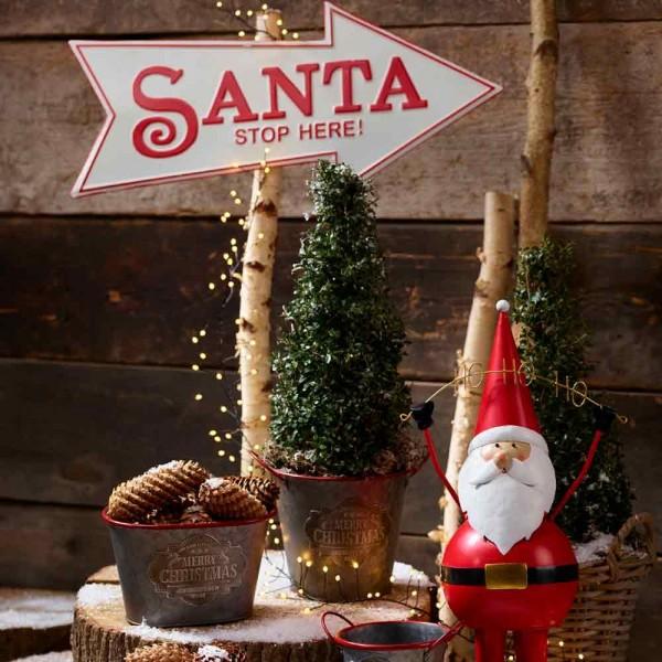 """Metallschild """" Santa"""" Weiß Rot Vintagedruck Weihnachten Deko"""