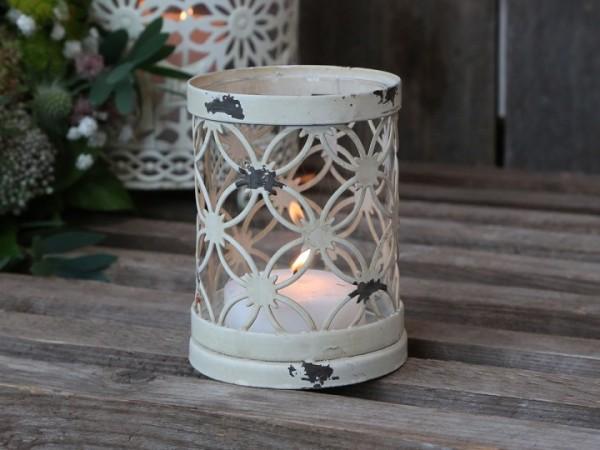 Chic Antique Teelichtglas Metall Antikweiß Garten Landhaus Shabby Vintage Groß Deko