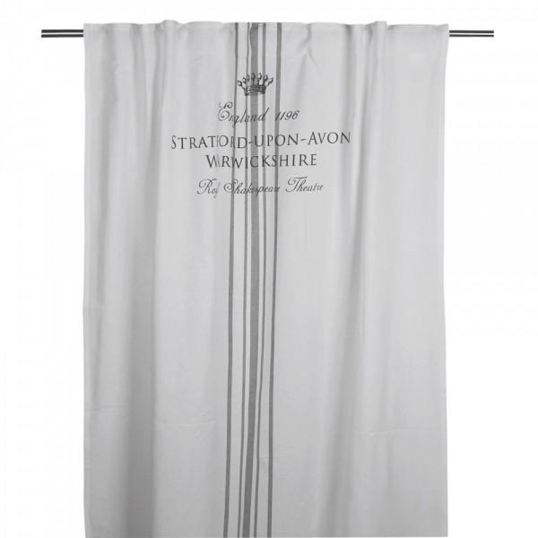 Gardine Gardinenschal Vorhang England Weiß - Grau Landhaus Shabby Vintage Mongramm 120 x 240 cm