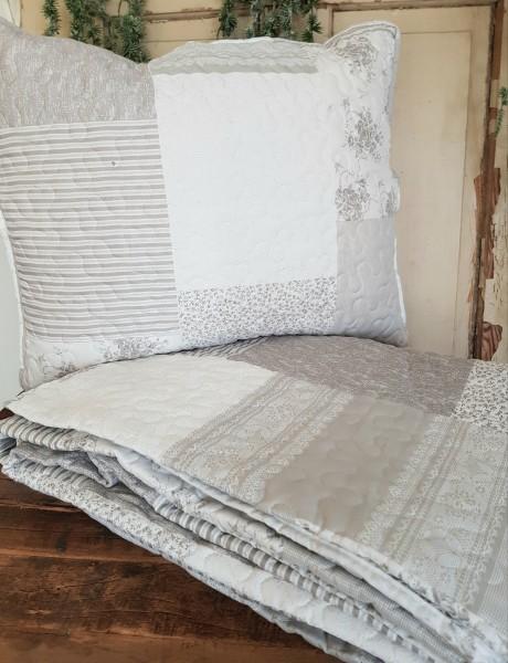 Kissen Quilt Tagesdecke Grau Shabby Vintage Landhaus 3 Modelle