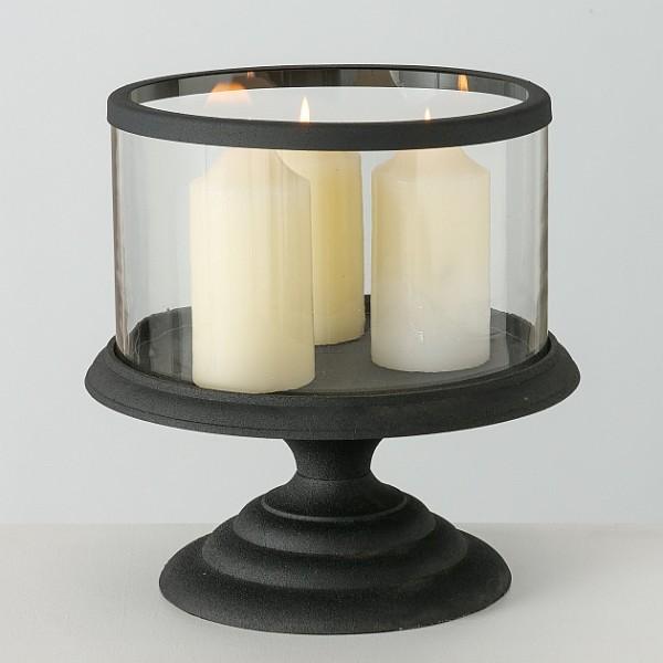 Laterne Windlicht Kerzenständer Metall Antikschwarz Shabby Vintage Landhaus XL