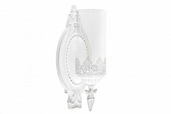 Hänge-Laterne Metall Shabby Vintage Weiß Windlicht Landhaus Wandlaterne