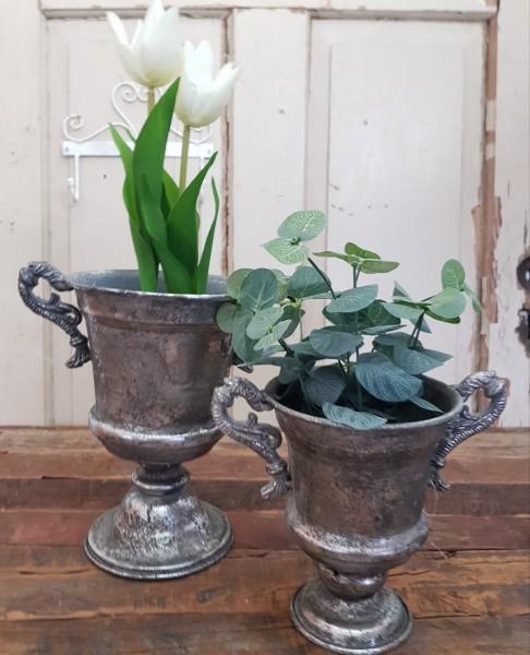 "Pokal Amphore Schale Metall Antiksilber Shabby Vintage Nostalgie ""Agadir"" groß"
