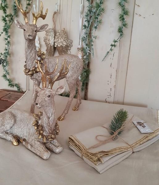 4er Set Stoffservietten Beige Shabby Vintage Landhaus Weihnachten Goldrand