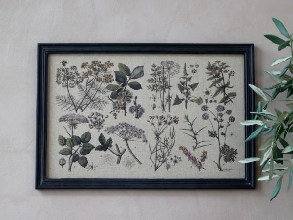 Bild Pflanzenmotiv Rahmen Antik Kohle Shabby Vintage Landhaus Wandbild Deko