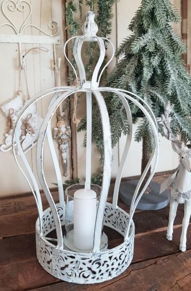 Krone Aufsatz Kerzenleuchter Metall Antik Weiß Shabby Vintgage Brocante Deko