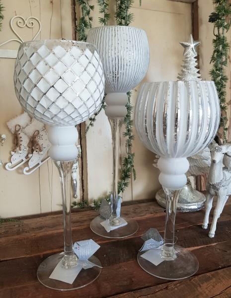 3er Set Windlichter Glas Weiß Vintage Nostalgie Shabby Kerzenleuchter Garten Deko