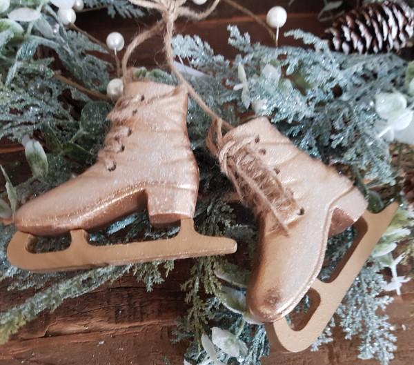 Schlittschuhe mit Juteband Weihnachten Vintage Landhaus Deko Gold