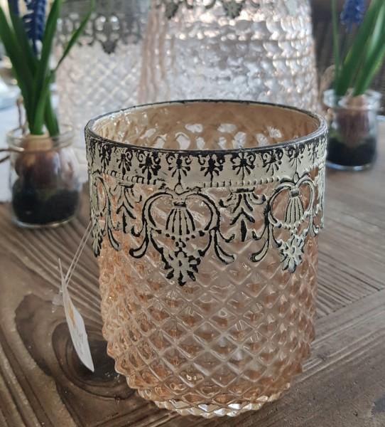 Windlicht Teelichtglas Rosa Shabby Vintage Landhaus Nostalgie Klein