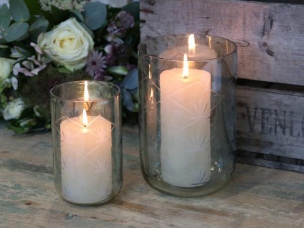 Kerzenleuchter Windlicht Glas Grün Vintage Landhaus Nostlgie Groß