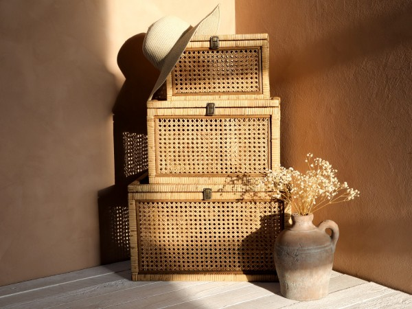 Chic Antique 3er Set Körbe Truhen Rattan Boho Vintage Landhaus Natur