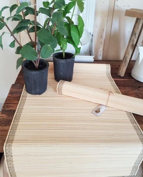 Tischläufer Bambus Boho Natur Landhaus Garten Vintage Untersetzer Deko