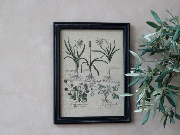 Bild Wildblumen Rahmen Antik Kohle Shabby Vintage Landhaus Wandbild Nr.2