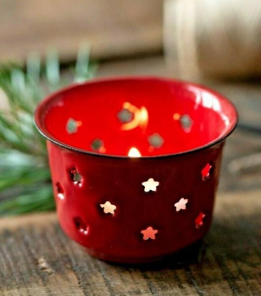 IB Laursen Teelicht Halter Emaille Rot mit Sternen