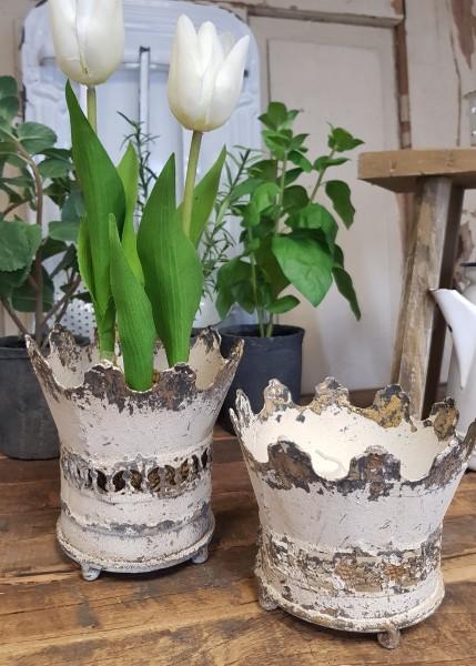 Pflanztopf Krone Kerzenhalter Metall Creme Shabby Vintage Landhaus groß