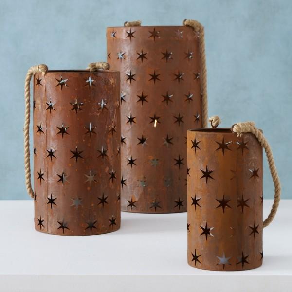 3er Set Windlichter/ Kerzenleuchter Metall Rost Shabby Vintage Landhaus Weihnachten Sterne