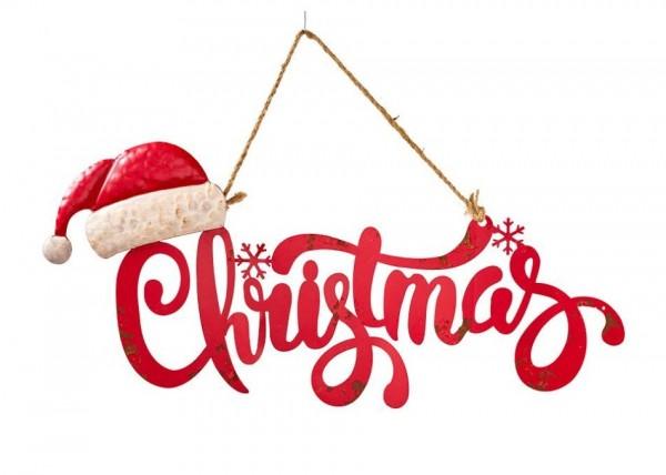 """Metallschild """" Christmas"""" Weiß Rot Vintagedruck Weihnachten Deko Juteband"""