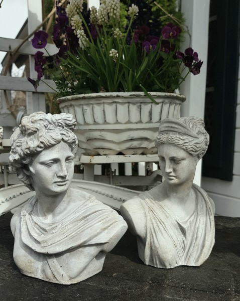 2 er Set Büste Statur Betonguss Garten Vintage Landhaus Frühling Deko
