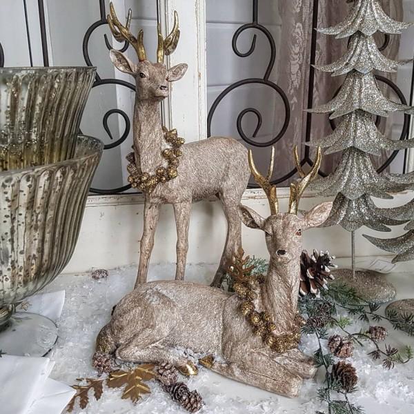 2er Set Hirsche/ Rentiere Champanger/ Gold Weihnachten Landhaus Vintage Deko