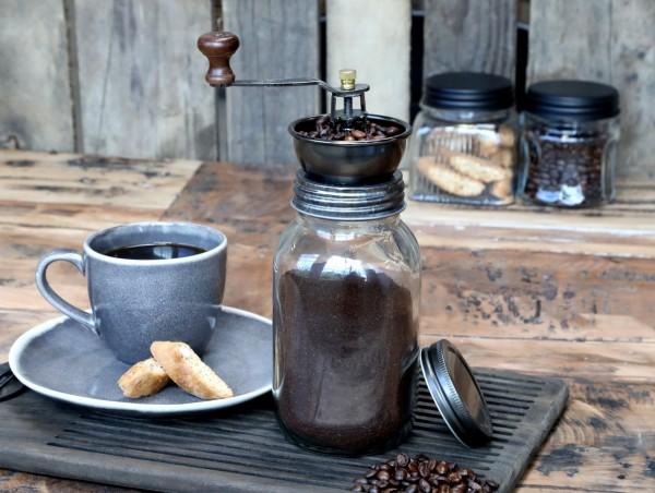 Chic Antique nostalgische Kaffeemühle Glas mit Metall Küche Shabby Vintage Landhaus Nostalgie Deko