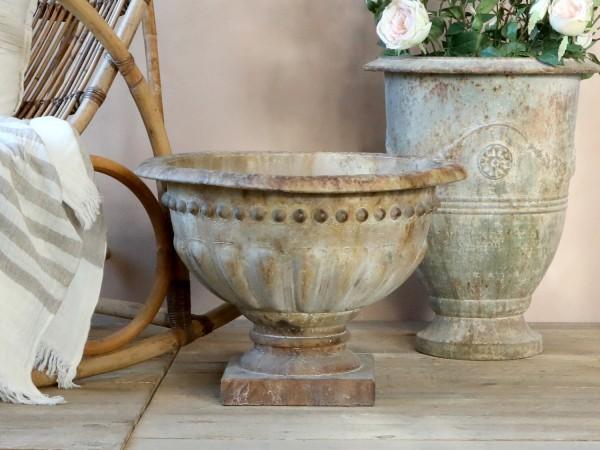 Pokal Amphore Pflanzkasten Metall Creme Garten Shabby Vintage Landhaus Deko XXL