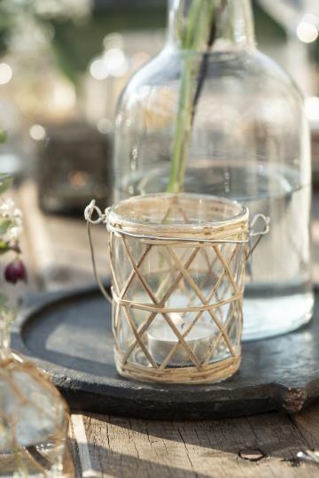 Wndlicht Bambusgeflecht Glas Shabby Vintage Landhaus Garten