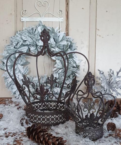 Krone Metall Antikbraun Shabby Vintage Nostalgie Kerzenleuchter Weihnachten Klein