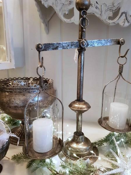 Windlicht Laterne Kerzenständer Metall Antiksilber Shabby Vintage Landhaus Deko