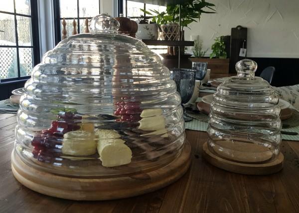 Glasglocke mit Tablett Holz Küche Landhaus, Vintage Garten Rund Klein Deko