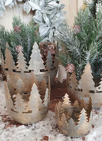 4er Set Pflanztöpfe/ Windlichter Metall Gold Weihnachten Shabby Vintage Deko