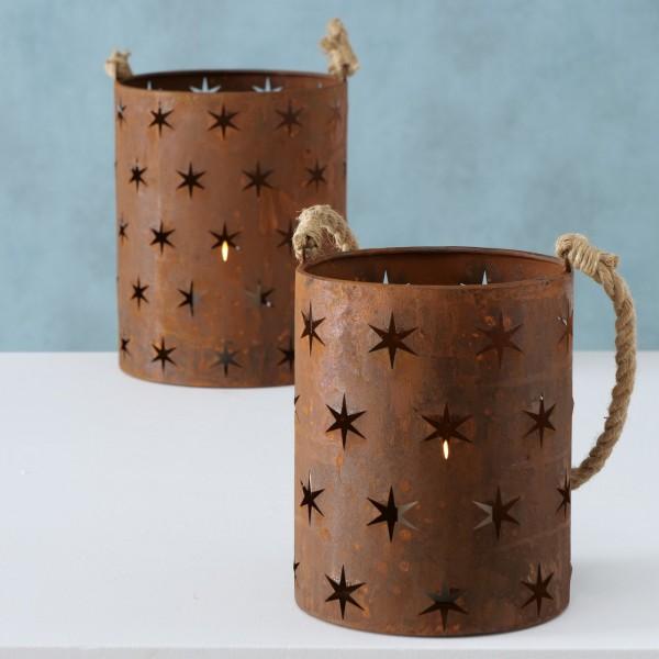 2er Set Windlichter/ Kerzenleuchter Metall Rost Shabby Vintage Landhaus Weihnachten Sterne
