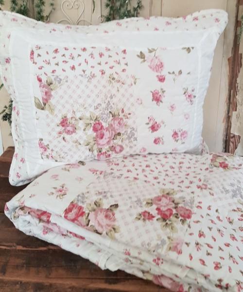 Kissen Quilt Tagesdecke Rosen Shabby Vintage Landhaus 3 Modelle